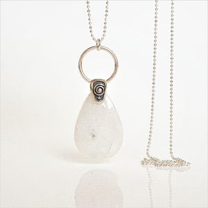 "Moonstone from India, AA+ grade silver pendant ""Intuition"""