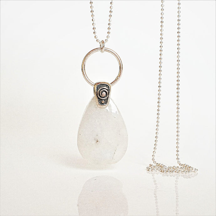Moonstone from India, AA+ grade silver pendant