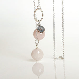 "Pink Quartz Silver Necklace ""Tenderness"""
