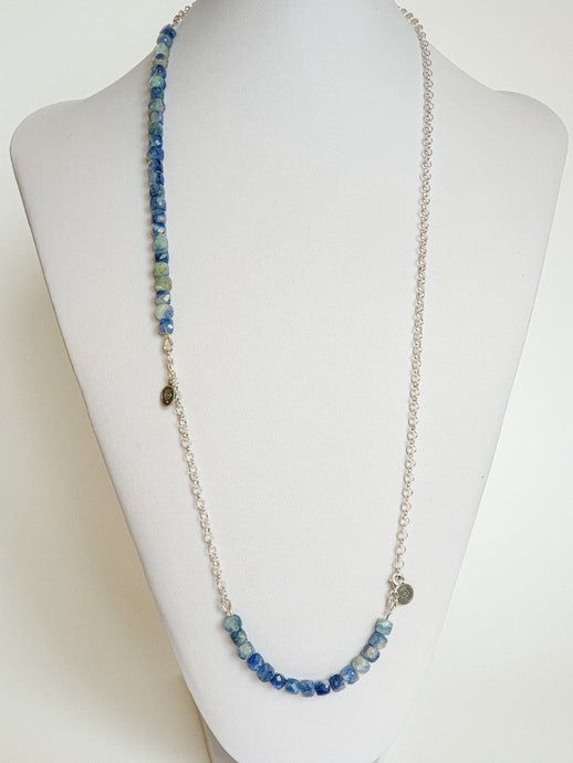 Kyanite AA+ from Brasil Set of Silver Bold Puzzle Necklace and Bracelet
