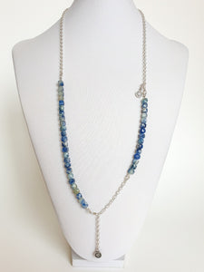 "Kyanite AA+ from Brasil Set of Silver Bold Puzzle Necklace and Bracelet ""Elevation"""
