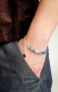 "Kyanite AA+ from Brasil Silver Bracelet ""Elevation"""