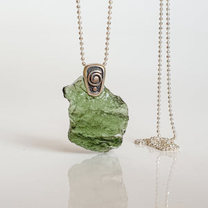 "15 mln years Moldavite Silver Pendant ""Stone of greatness"""