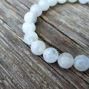 "Moonstone AA+ Silver Bracelet for Women ""Intuition"" - 8 mm"