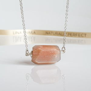 "Sun Stone Long Silver Necklace ""Joy and Success"""