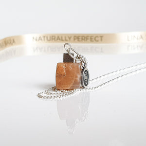 "Sun Stone Cube Silver Pendant ""Joy and Success"""