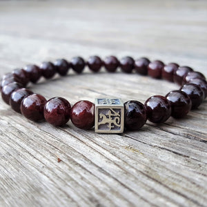 Red Garnet Bracelet for Men - Vytis - 8mm | Lina Snara