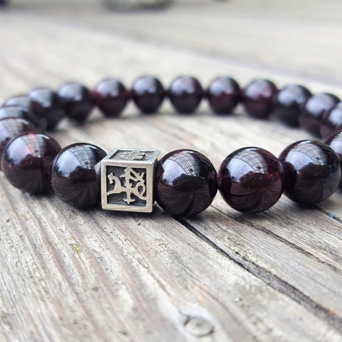 Red Garnet Bracelet for Men - Vytis - 10mm | Lina Snara