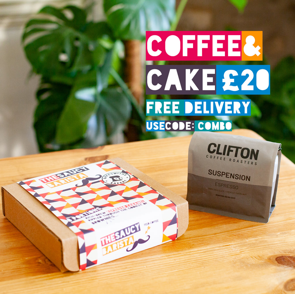 Free delivery on coffee and cake combo.