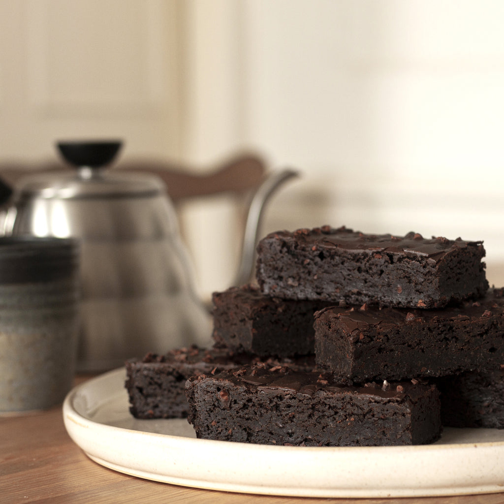 Dark and Stormy vegan brownies.