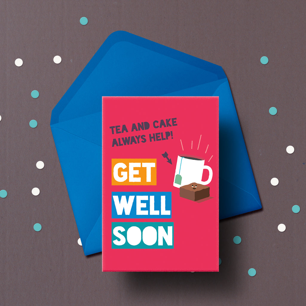 Get well soon card with cake delivery.