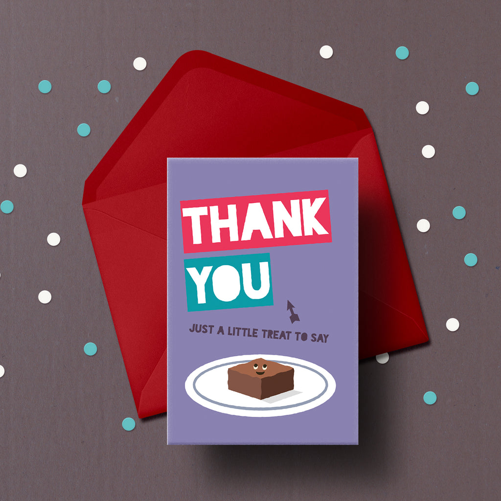 Thanks you card ready to be delivered with cake.