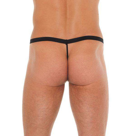 Mens Black GString With Leopard Print Pouch