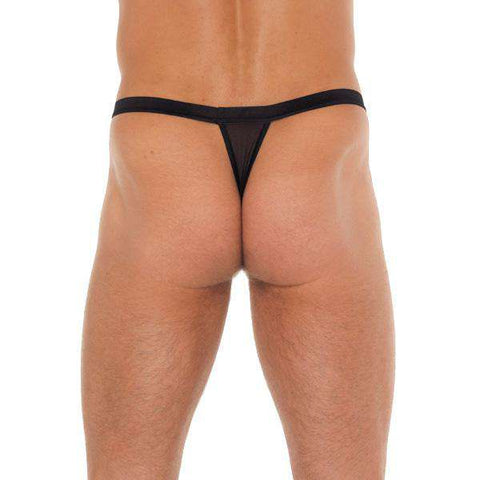Mens Black GString With Black Straps To Animal Print Pouch