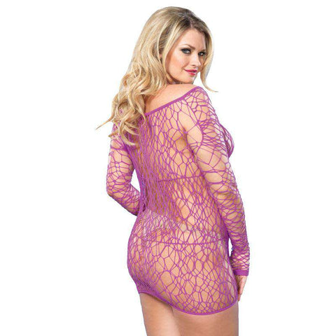 Leg Avenue Web Net Mini Dress Purple UK 18 to 22