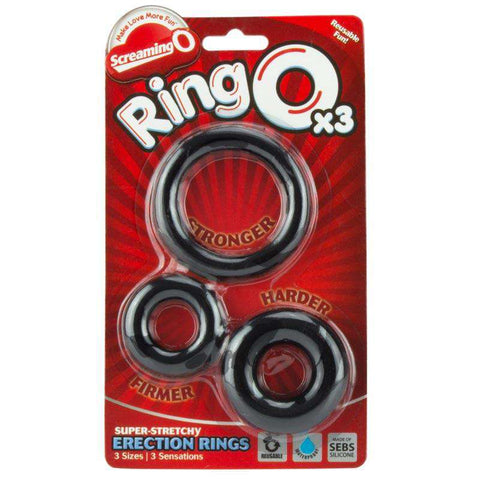 Screaming O Ring O x 3 Black Cockrings
