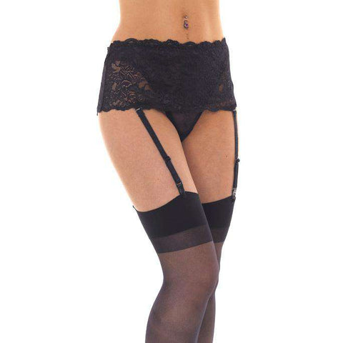 Black Floral Suspender Belt With Stockings