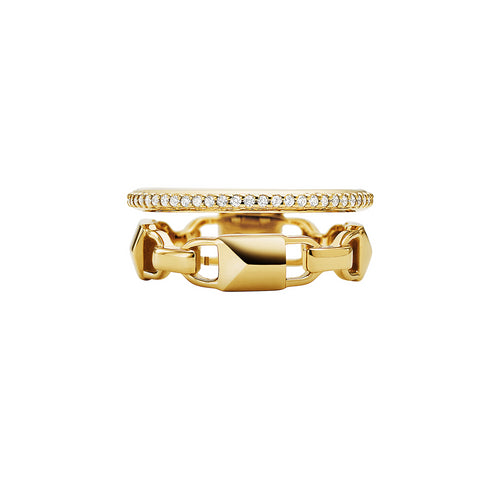 Michael Kors Mercer Link 14ct Gold Plated Prestack Ring Size P