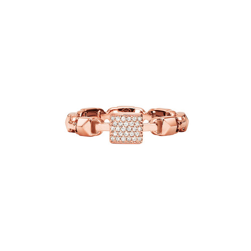 Michael Kors Mercer Link 14ct Rose Gold Plated Stacking Ring Size P