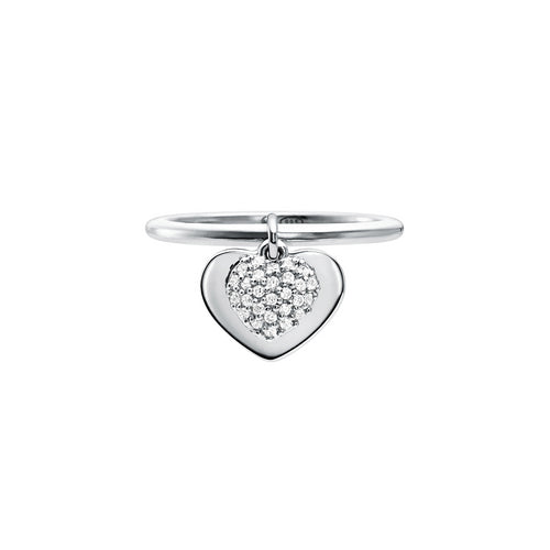 Michael Kors Love Sterling Silver Heart Duo Ring Size L.5