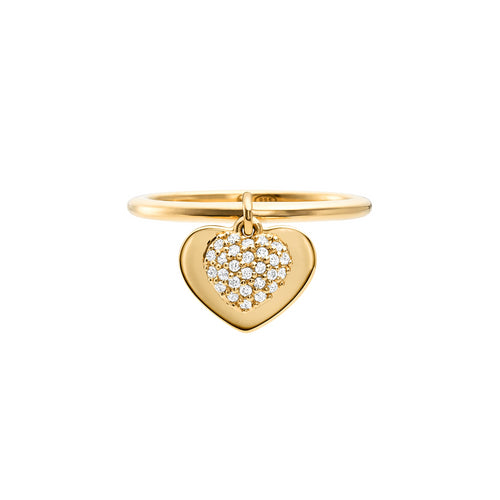 Michael Kors Love 14ct Gold Plated Heart Duo Ring Size L.5