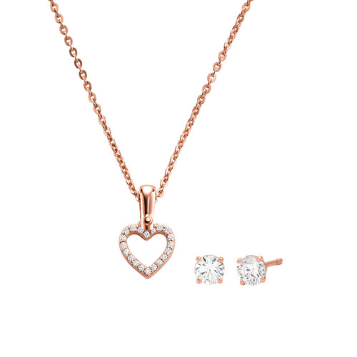 Michael Kors 14ct Rose Gold Plated Open Heart Pendant & Earrings Set