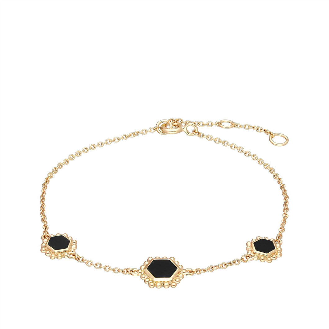 Black Onyx Flat Slice Chain Bracelet in Gold Plated Sterling Silver