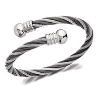 Inspirit Stainless Steel Grey And Silver Twist Torc Bangle - A3516