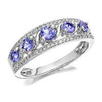 9ct White Gold Tanzanite And Diamond Ring - 20pts - D6351-N