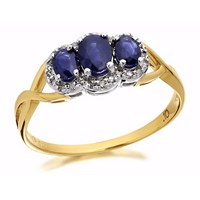 9ct Gold Sapphire And Diamond Cluster Ring - 10pts - D6415-O