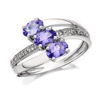 9ct White Gold Tanzanite And Diamond Crossover Ring - EXCLUSIVE - D6804-P