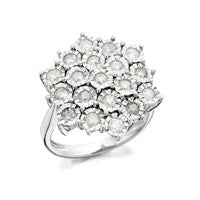 9ct White Gold 1 Carat Diamond Cluster Ring - D7209-M