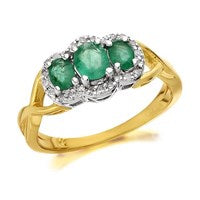9ct Gold Emerald And Diamond Cluster Ring - 10pts - D7509-P