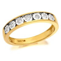 9ct Gold Diamond Half Eternity Ring - 10pts - D8085-Q