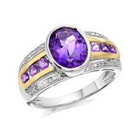 My Diamonds Silver And 9ct Gold Amethyst And Diamond Ring - D9042-K