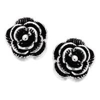 Silver Rose Earrings - 6mm - F0276