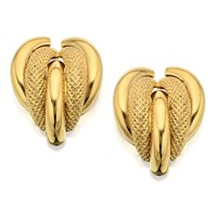 9ct Gold Five Strands Curved Earrings - 18mm - G0128
