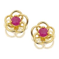 9ct Gold Ruby Flower Earrings - 5mm - G0208