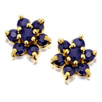 9ct Gold Sapphire Cluster Earrings - 7mm - G0488