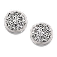 9ct White Gold Crystal Stud Earrings - 6mm - G0634