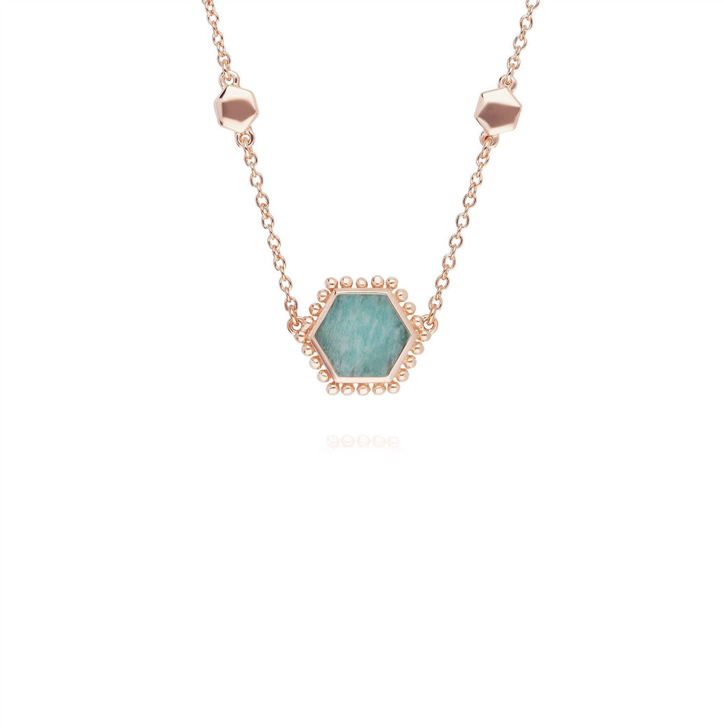 Amazonite Flat Slice Hex Necklace in Rose Gold Plated Sterling Silver