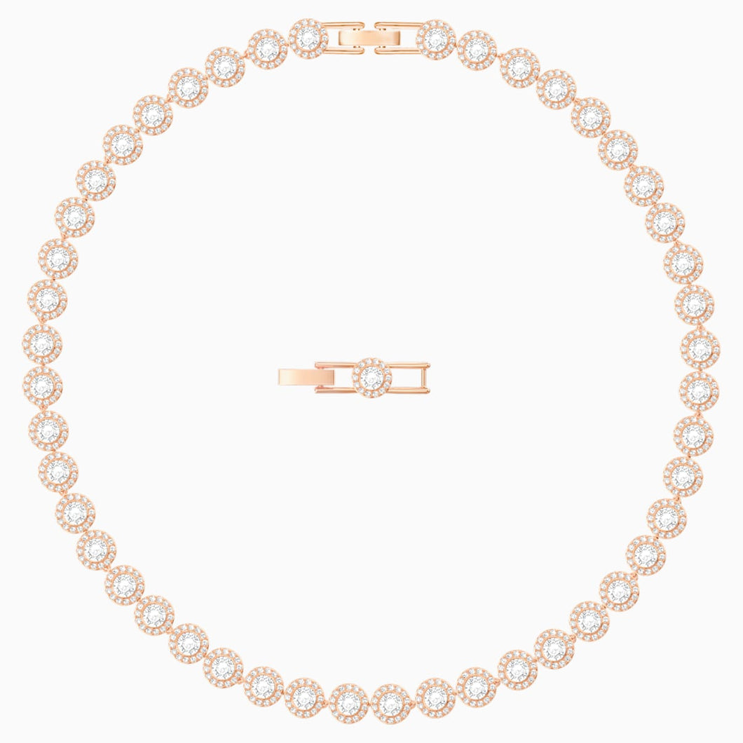 Angelic Necklace, White, Rose-gold tone plated