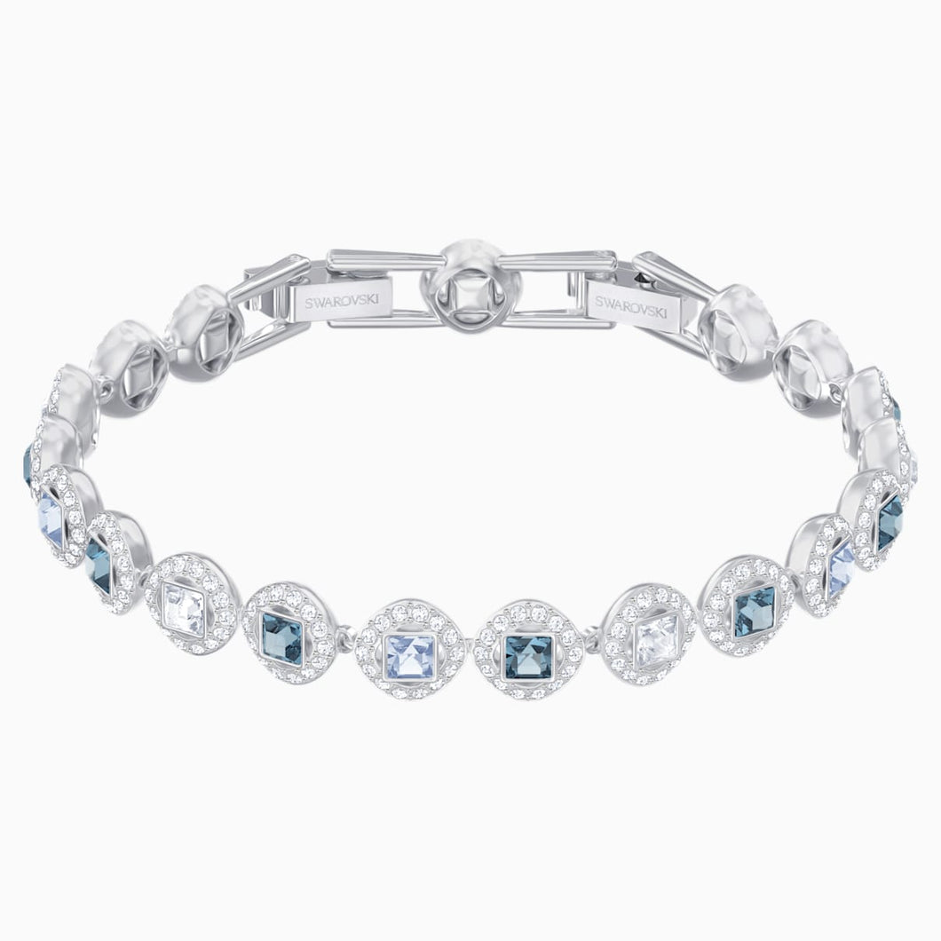 Angelic Square Bracelet, Blue, Rhodium plated