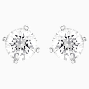 Attract Pearl Pierced Earrings, White, Rhodium plated