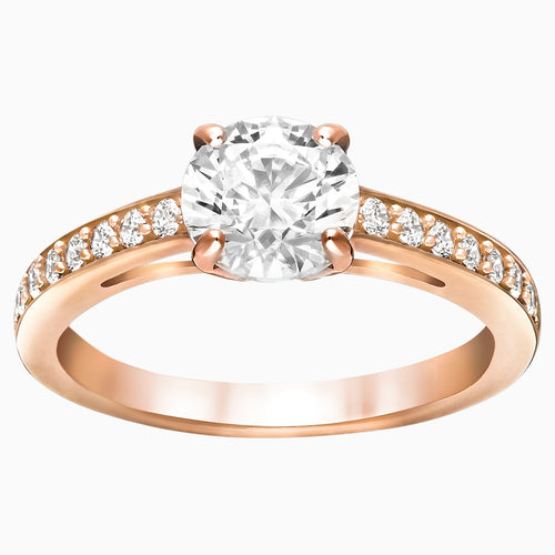 Attract Round Ring, White, Rose-gold tone plated