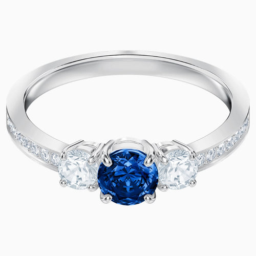 Attract Trilogy Round Ring, Blue, Rhodium plated