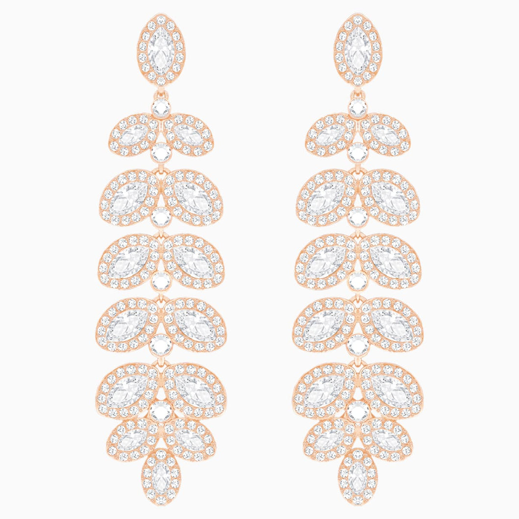 Baron Pierced Earrings, White, Rose-gold tone plated