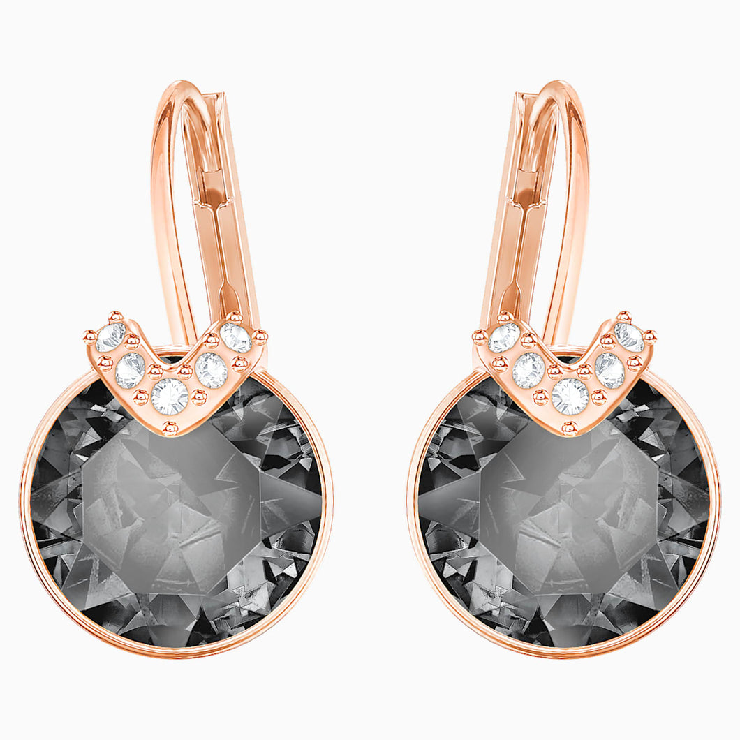 Bella V Pierced Earrings, Grey, Rose-gold tone plated