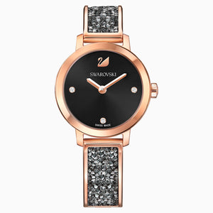 Cosmic Rock Watch, Metal bracelet, Black, Rose-gold tone PVD