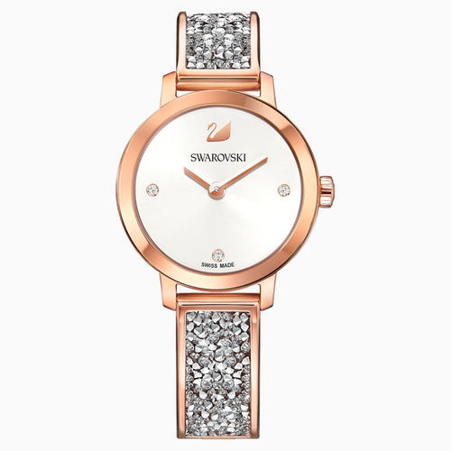 Cosmic Rock Watch, Metal bracelet, Grey, Rose-gold tone PVD